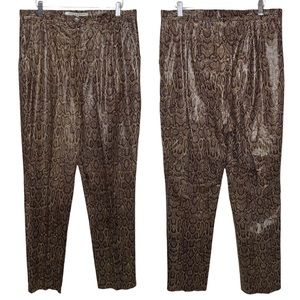 Double D Ranch Leather Snakeskin Pleated High Rise Pants
